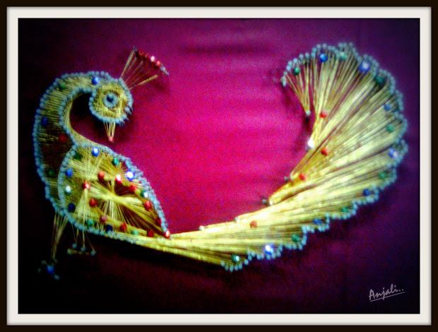 craftz golden peacock-nail & thread