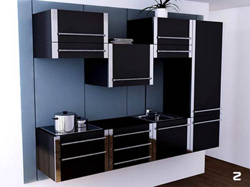 Uzumaki Interior Design: Modern Kitchen Furniture in Black Color