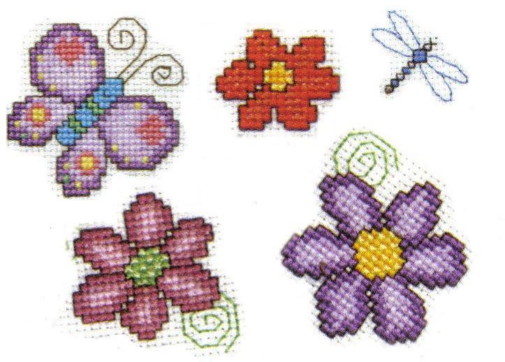 Flor bordada en punto cruz Bordados t Punto cruz Flor