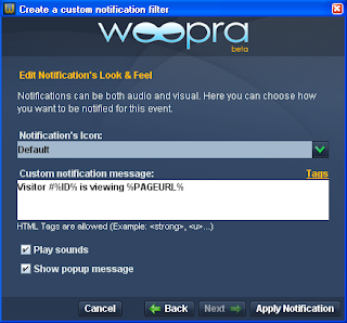 Woopra Event Notification Screenshot