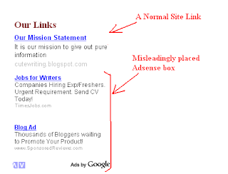 Adsense violation with normal links