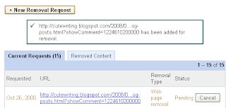 Google Webmaster Tools URL removal request submitted