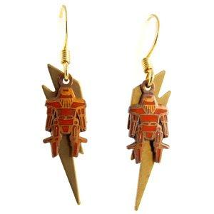 robot earrings retro