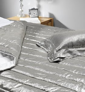 silver metallic bed linen marks and spencer