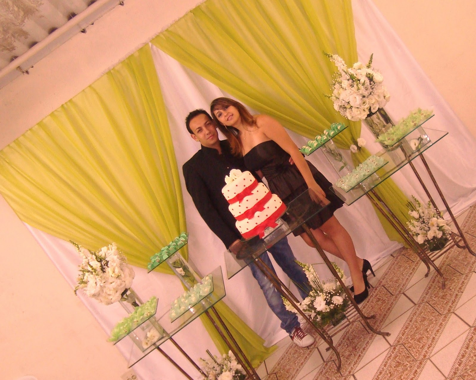 decoracao festa noivado:Quero + festa!Cartão Até 10x : Decoração Noivado Verde! Jantar de