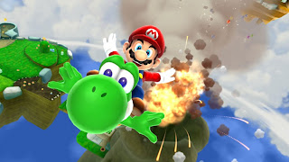 Super Mario on Dino Mario Galaxy 2 HD Game Wallpaper
