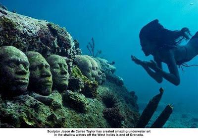 museum bawah laut, kepulauan karibia, pulau grenada, peninggalan sejarah, foto menakjubkan, gambar sejarah peradaban manusia