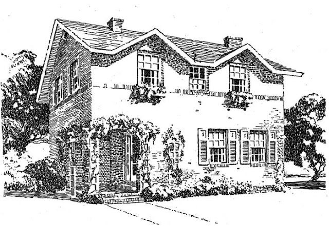 Casa norteamericana clásica dibujada
