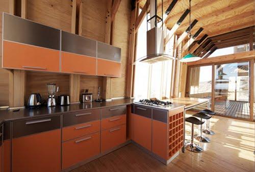Cocina de la vivienda de madera