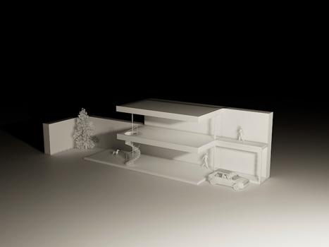 Arquitectura de casas casa peque a estilo minimalista en for Casa minimalista maqueta