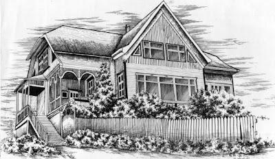 Casa alemana en el sur de Chile dibujada con tinta china