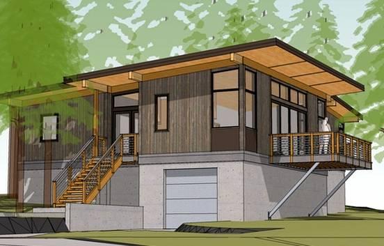 Imagen del renderizado de un proyecto de cabaña ecológica en Estados Unidos