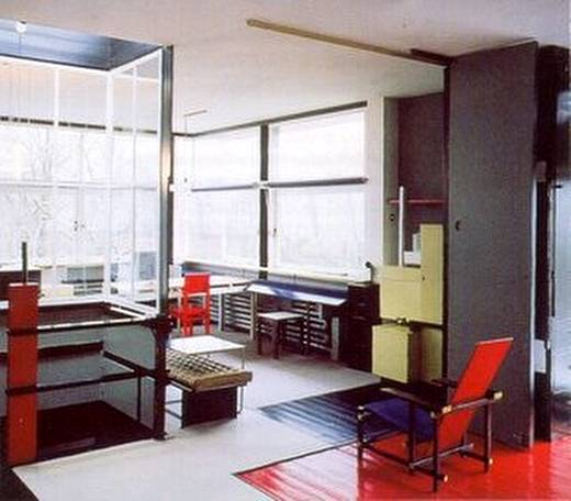 Casa neoplasticista por dentro ubicada en Holanda