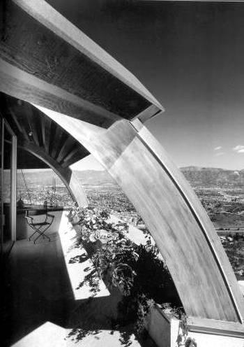 Detalle arquitectónico de la Residencia Malin por John Lautner