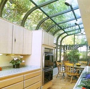 Cocina en balcón terraza cerrado