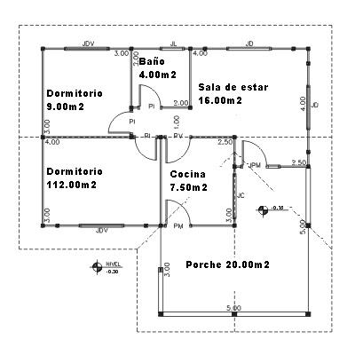 Plano de planta de un modelo de casa prefabricada
