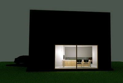 Perfil de la casa en Bélgica con interior iluminado