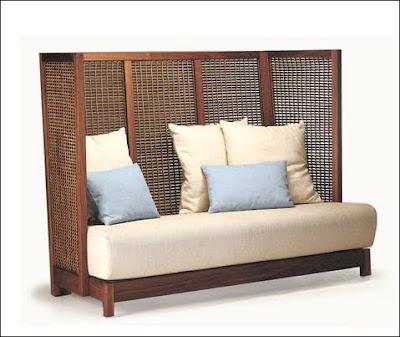 Sofa madera ratán
