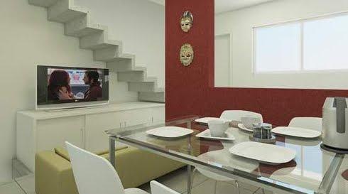 Interior de una de las viviendas ambiente cocina- comedor y sala de estar
