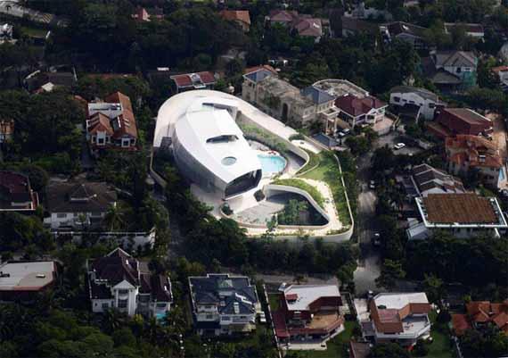 Vista aérea de la casa del futuro