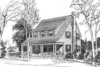 Dibujo de una casa americana de marcos de madera