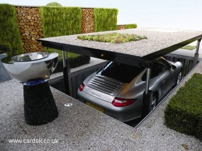 Garage con ascensor para un automóvil