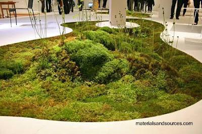 Alfombra orgánica ecológica con plantas vivas