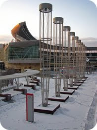 Target Field, covered in snow.