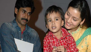 Power Star Pawan Kalyan with Renu and son Akira