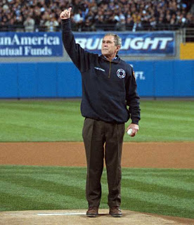 Bush gives thumbs-up on baseball field - from the PDF