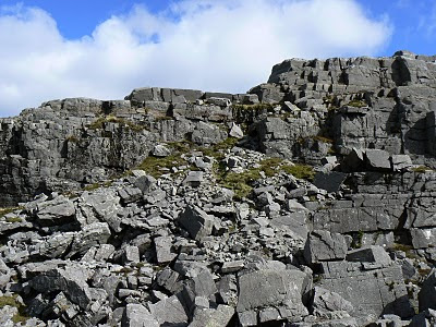 The scramble to the summit of Foel Penolau was across these boulders