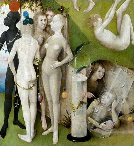 hundreds of erotic naked figures carrying or eating fruits,