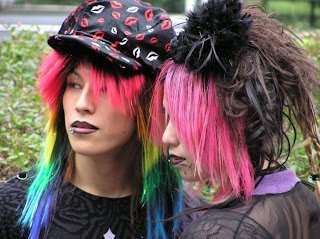 harajuku fashion rainbow hair
