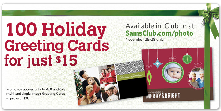 today is the last day to order christmas cards from sams club i think its a great deal 100 cards for 15 they have a lot of designs and are easy to