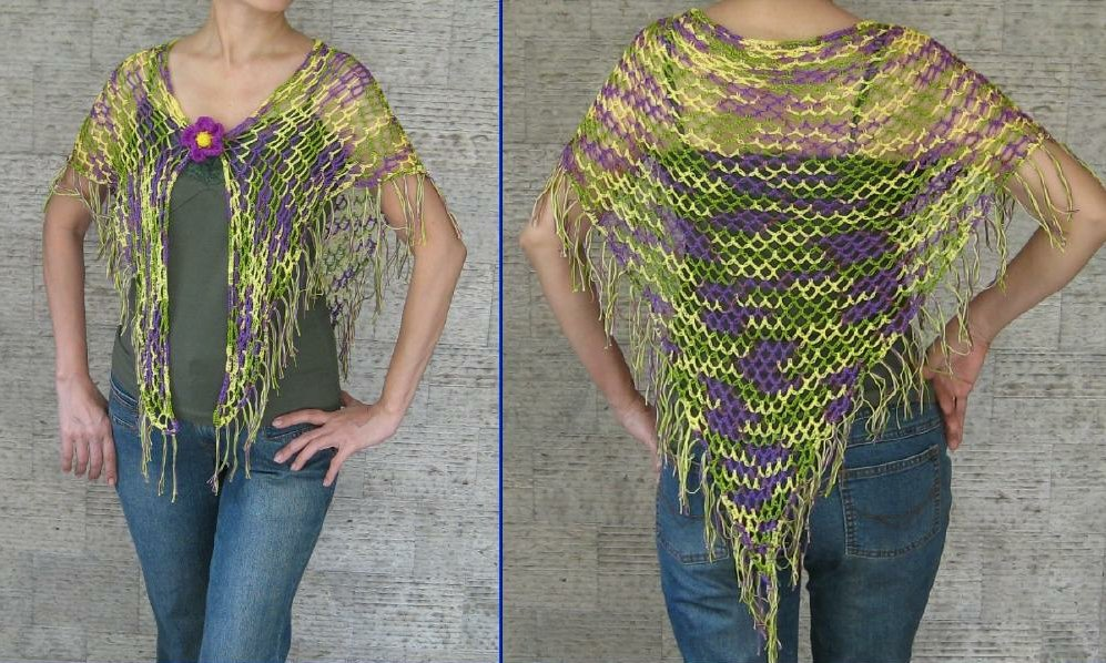 ... and Other Stuff: Tropical Shawl with fringe - free crochet pattern