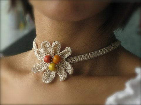 Crochet and Other Stuff: Crochet a Flower Choker - free pattern