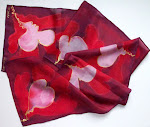 Hand Painted Hearts Silk Scarf