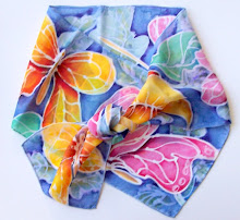 Butterflies in Bloom Hand Painted Silk Scarf