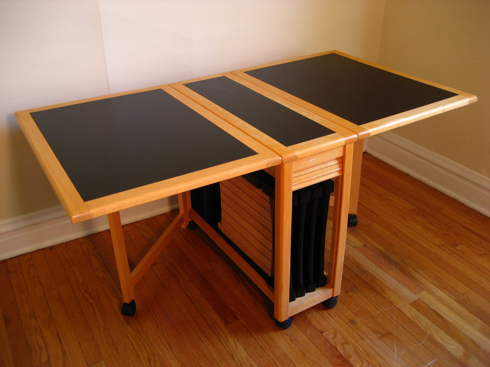 With Self Storing Leaf Dining Table