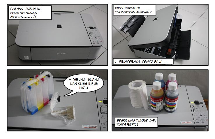 Berikut ini Panduan Cara Pasang Infus Canon MP258 :