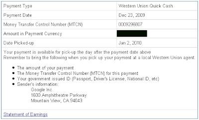 Google Adsense Payment Details
