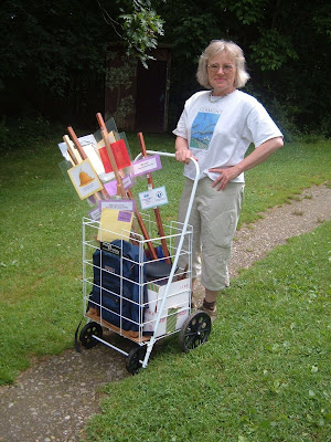 Anne Ferguson, creator of StoryWalk, at Hubbard Park, photo by R.Senechal