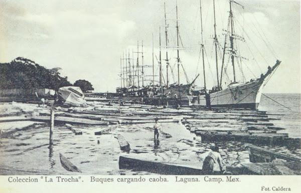 Bergantines cargando caoba en la marina (hoy malecon), fot jbcaldera ca 1905