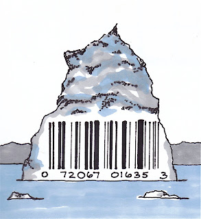 Ink and marker drawing of an iceberg with a UPC code on it