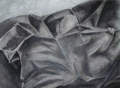 charcoal drawing of a paper bag