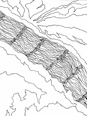 Hemp rope and a satellite photo line drawing