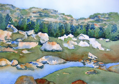 Watercolor painting of a stream near the base of mountains