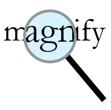 magnifying glass with magnified text made in illustrator