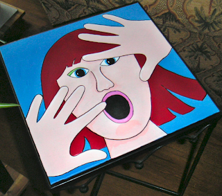 painting of a woman trapped in a table top