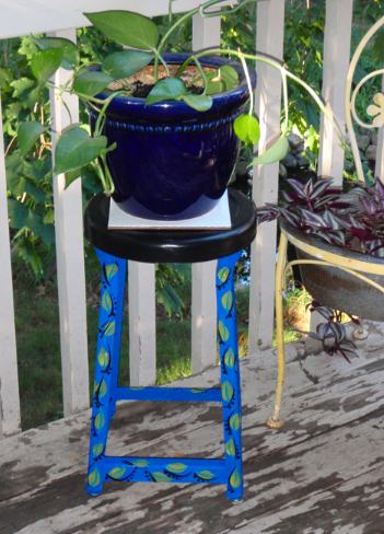 decorative painted metal stool